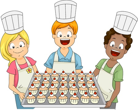 Illustration of Kids Presenting Cupcakes Stock Illustration - 10823977