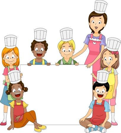 ni�os con pancarta: Ilustraci�n de banner con miembros de un Club de cocina