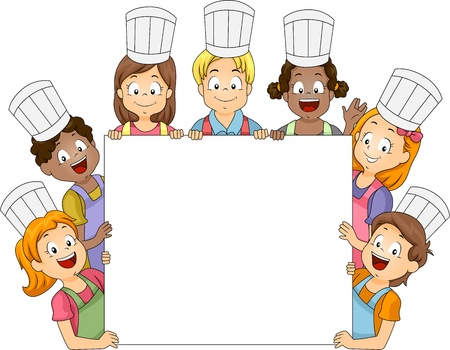 ni�os con pancarta: Ilustraci�n de los miembros del Club sosteniendo una gran placa de cocina
