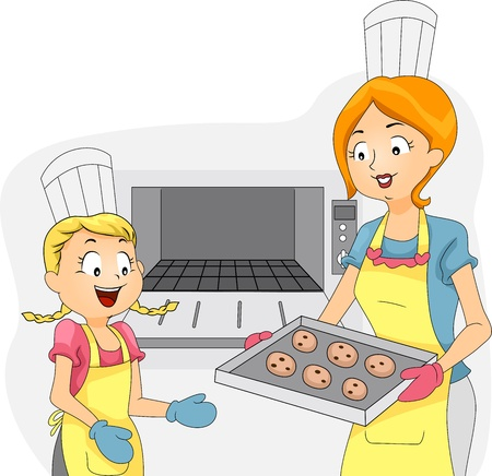 pastime: Illustration of a Kid Helping Out with the Baking Stock Photo
