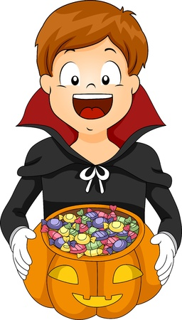 treating: Illustration of a Kid Going Trick or Treating Stock Photo