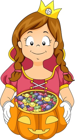 cartoon princess: Illustration of a Kid Going Trick or Treating Stock Photo