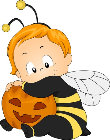 Illustration of a Baby Dressed as a Honeybee illustration