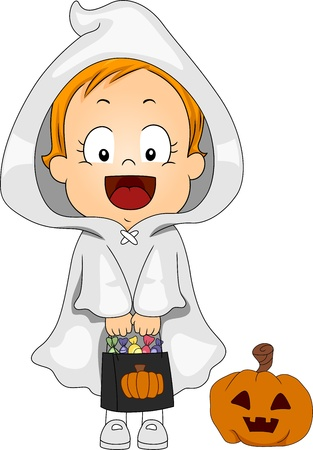 Illustration of a Baby Dressed as a Ghost illustration