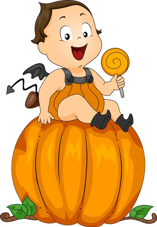 Illustration of a Baby Dressed as a Pumpkin illustration
