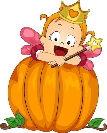 calabaza caricatura: Ilustración de una niña vestida como un hada en una calabaza