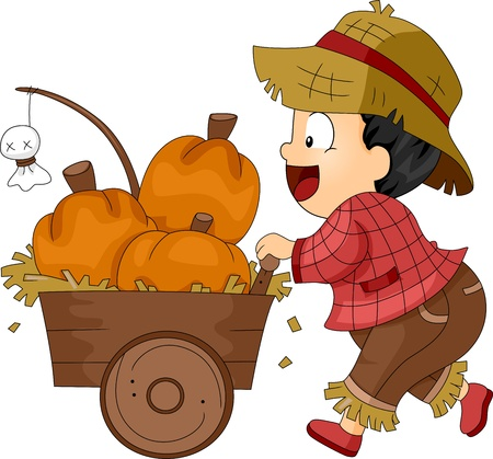 Illustration of a Toddler Pushing a Pumpkin Cart illustration