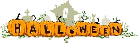 calabaza caricatura: Ilustración de calabazas formando la palabra Halloween