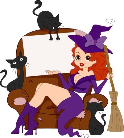broomstick: Illustration of a Pinup Girl in a Witch Costume Stock Photo