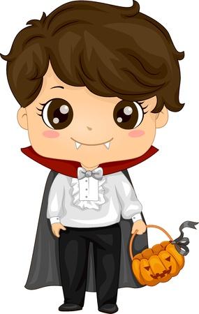 halloween cartoon: Illustration of a Kid Dressed as a Vampire