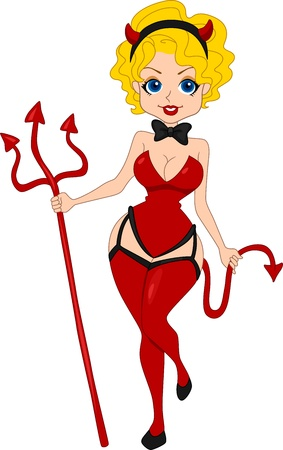 devil girl: Illustration of a Pinup Girl Dressed as a Devil