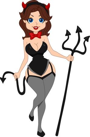 Illustration of a Pinup Girl Dressed as a Devil illustration