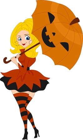 seductive: Illustration of a Pinup Girl Wearing a Pumpkin Inspired Costume Stock Photo