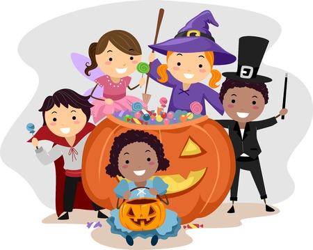 brujas caricatura: Ilustraci�n de ni�os vestidos con trajes de Halloween diversos Foto de archivo