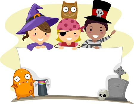 halloween kids: Banner Illustration with a Halloween Theme