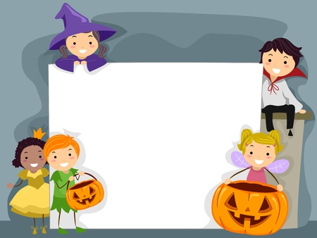 kids dress: Illustration of Kids Dressed in Halloween Costumes