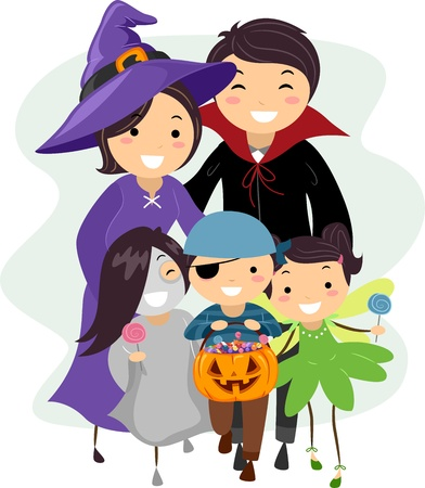 Illustration of a Family Dressed in Halloween Costumes illustration
