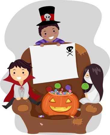 Illustration of Kids Dressed in Halloween Costumes illustration