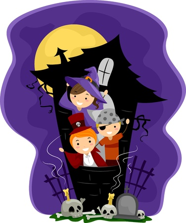 Illustration of Kids in a Haunted House illustration