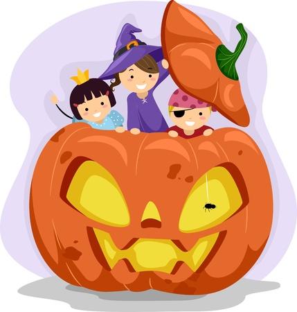 Illustration of Kids Playing Inside a Giant Pumpkin Stock Illustration - 10823904
