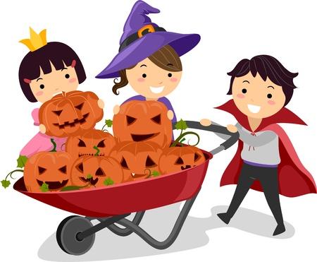 halloween cartoon: Illustration of Kids Pushing a Wheelbarrow Full of Pumpkins Stock Photo