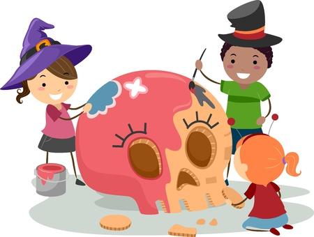 Illustration of Kids Painting a Skull illustration