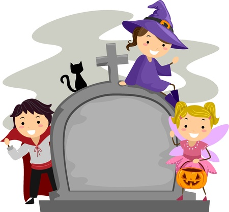 gravestone: Illustration of Kids Posing Beside a Tombstone Stock Photo