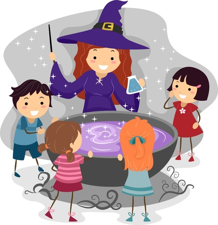 pocion: Ilustración de niños viendo un elenco de bruja un hechizo