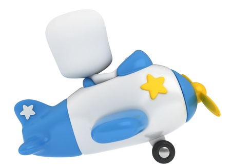 plane cartoon: 3D Illustration of a Kid Piloting a Toy Plane