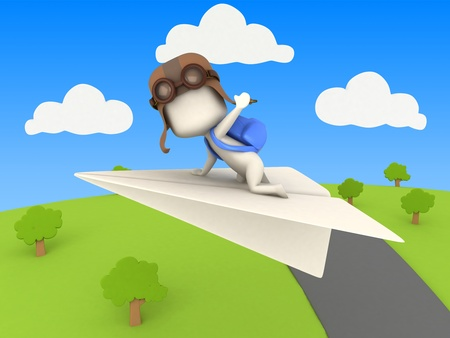 3D Illustration of a Kid Riding a Paper Plane illustration