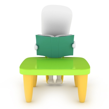 3D Illustration of a Kid Reading a Book illustration