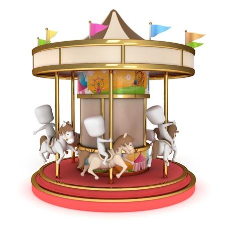 3D Illustration of Kids Riding a Carousel illustration