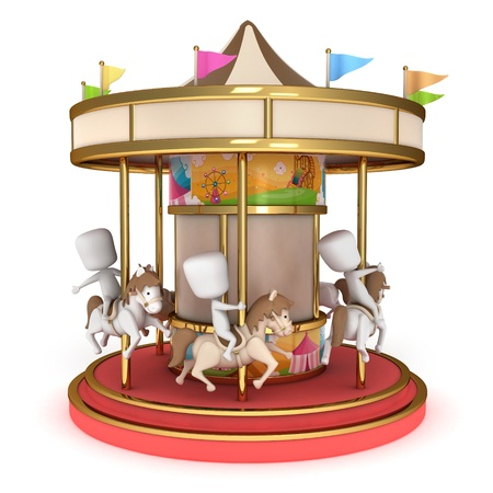 3D Illustration of Kids Riding a Carousel Stock Photo