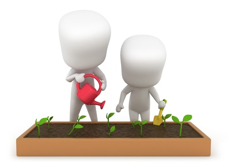 3D Illustration of Kids Gardening