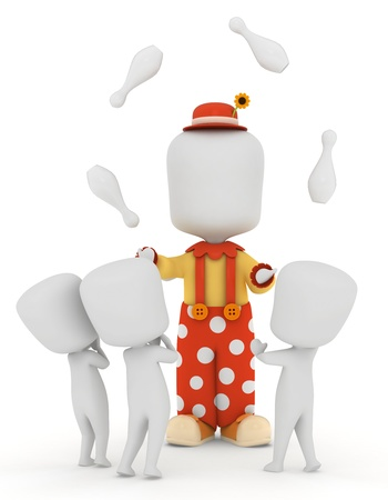juggler: 3D Illustration of a Juggler Performing for Kids Stock Photo