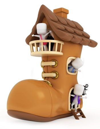 3D Illustration of Kids Playing in a Shoe House illustration