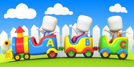3D Background Illustration Featuring Kids on a Toy Train illustration
