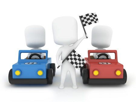racecar: 3D Illustration of MenKids Participating in a Car Race Stock Photo