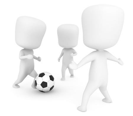 practise: 3D Illustration of Men  Kids Playing Soccer