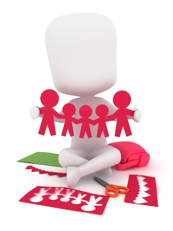 3D Illustration of a Kid Making a Family Cutout illustration