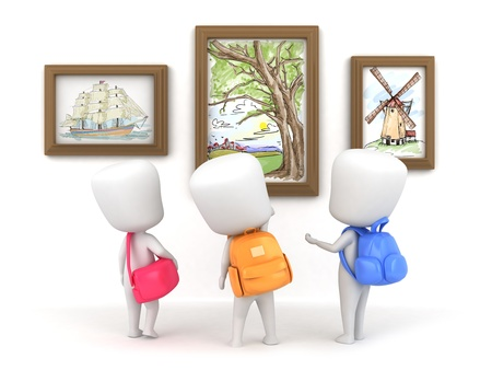 museum gallery: 3D Illustration of Kids in an Art Museum