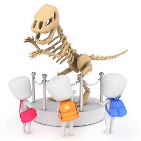 grade schooler: 3D Illustration of Kids Looking at a Museum Display Stock Photo
