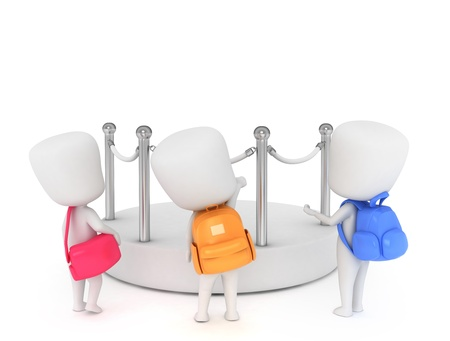 3D Illustration of Kids looking at an Empty Display in a Museum illustration