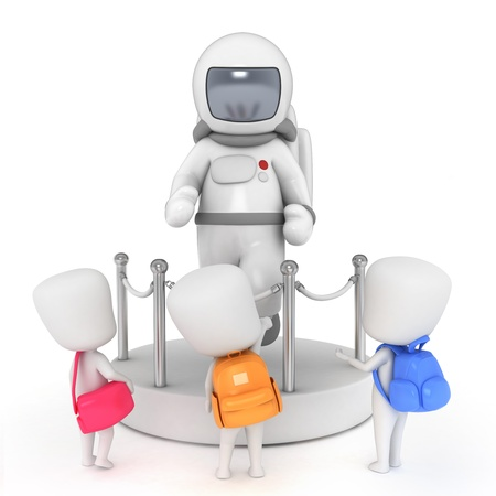 replica: 3D Illustration of Kids in a Science Museum