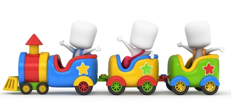 3D Illustration of Kids on a Toy Train