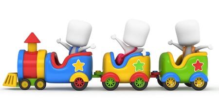 3D Illustration of Kids on a Toy Train Stock Illustration - 10900744