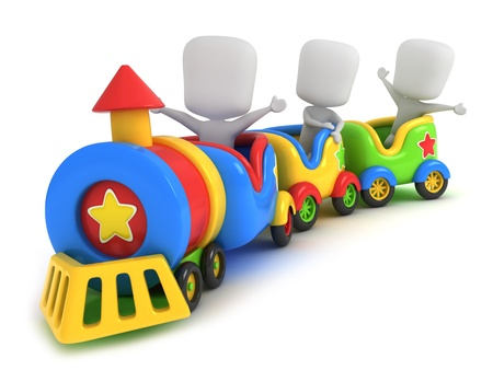 train cartoon: 3D Illustration of Kids on a Toy Train