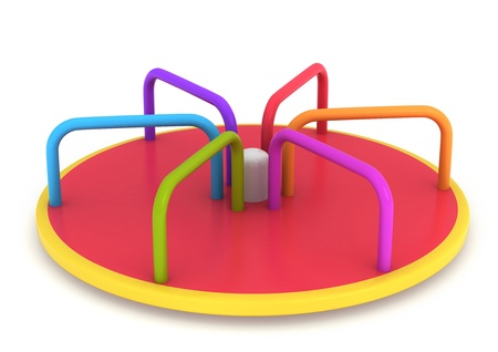 roundabout: 3D Illustration of a Merry Go Round Stock Photo