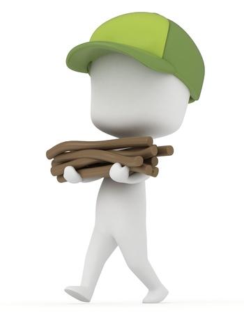 duties: 3D Illustration of a Kid Camper gathering Firewood