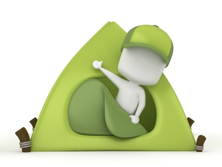 camper: 3D Illustration of a Kid Camper waving from inside a Tent Stock Photo